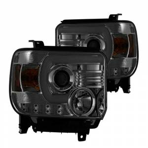 Spyder Smoke U-Bar Projector LED Headlights | 2014-2015 GMC Sierra w/factory LED DRL | Dale's Super Store