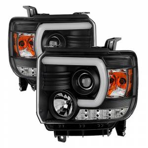 Spyder Black U-Bar Projector LED Headlights | 2014-2015 GMC Sierra w/o LED DRL | Dale's Super Store