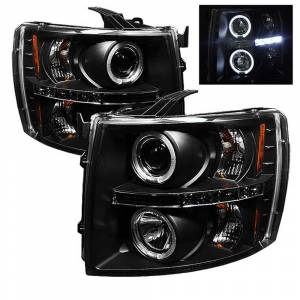 Spyder Black Halo Projector LED Headlights | 2007-2014 Chevy Silverado