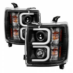 Spyder Black U-Bar Projector LED Headlights | 2015-2016 Chevrolet 2500/3500 HD | Dale's Super Store