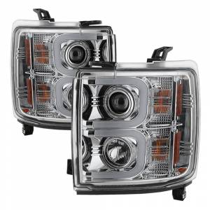 Spyder Chrome U-Bar Projector LED Headlights | 2015-2016 Chevrolet 2500/3500 HD | Dale's Super Store