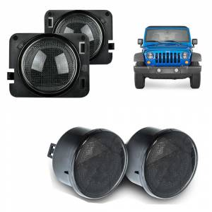 Recon Smoked Front Turn Signal & Side Fender Lens Package | 2007-2016 Jeep Wrangler JK
