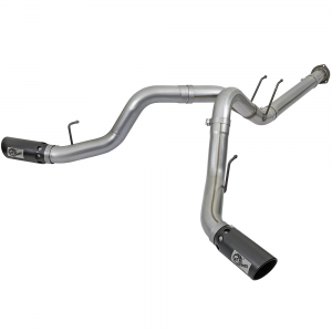 """aFe Power Large Bore HD 4"""" Stainless DPF-Back w/Black Tips 