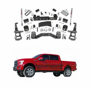 Rough Country 4 In Suspension Lift Kit for 2015-2018 Ford F-150 4WD | 555.22