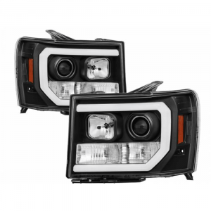 Spyder Black DRL Bar Projector LED Headlights | 2007-2014 GMC Sierra 1500/2500/3500 | Dale's Super Store