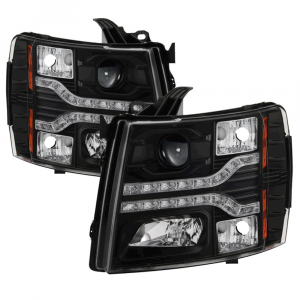Spyder Black Projector Headlights with LED DRL | 2007-2014 Chevy Silverado | Dale's Super Store