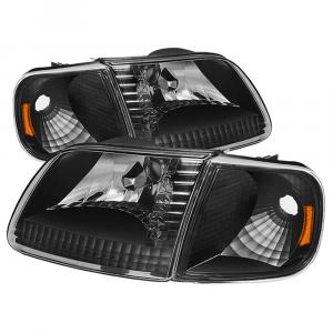 Spyder? Black Euro Headlights w/Corner Lights | 1997-2003 Ford F-150 | Dale's Super Store