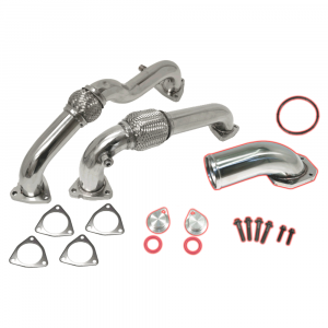 Flo~Pro Polished Stainless Steel Up-Pipe Kit & EGR Intake Elbow | 2008-2010 Ford Powerstroke 6.4L | Dale's Super Store