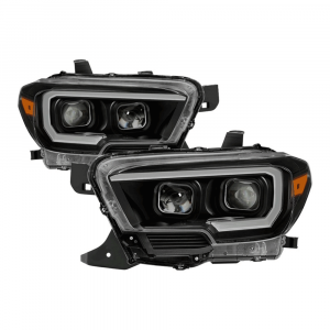 Spyder Black Projector Headlights w/DRL Light Bar & Sequential Turn Signal   2016-2018 Toyota Tacoma   Dale's Super Store
