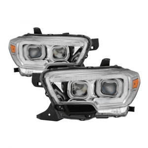 Spyder Chrome Projector Headlights w/DRL Light Bar & Sequential Turn Signal   2016-2018 Toyota Tacoma   Dale's Super Store