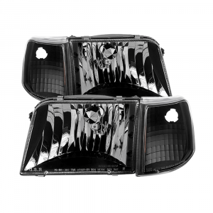Spyder Black Euro Headlights w/Corner Lights | 1993-1997 Ford Ranger | Dale's Super Store