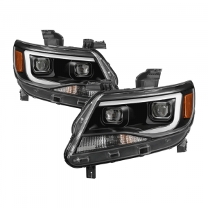 Spyder Black U-Bar Projector Headlights w/LED Turn Signal   2015-2018 Chevy Colorado   Dale's Super Store