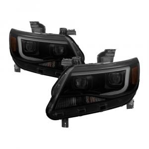 Spyder Black Smoke U-Bar Projector Headlights w/LED Turn Signal   2015-2018 Chevy Colorado   Dale's Super Store