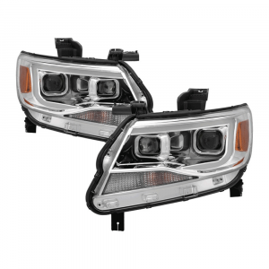 Spyder Chrome U-Bar Projector Headlights w/LED Turn Signal | 2015-2018 Chevy Colorado | Dale's Super Store