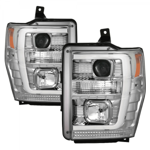 Spyder Chrome LED DRL Bar Projector Headlights | 2008-2010 Ford Super Duty | Dale's Super Store