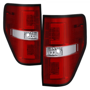 Spyder Red/Clear Fiber Optic LED Tail Lights | 2009-2014 Ford F-150 | Dale's Super Store