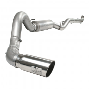 "aFe Power Large Bore-HD 5"" Stainless Downpipe Back w/Muffler & Polished Tip 
