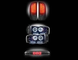 RECON - 2002-2005 Dodge Ram (COMBO) Smoked LED Tail Lights + Projector Headlights + 3rd Brake Light