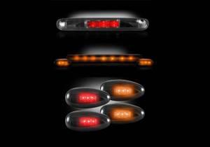 RECON - 2007-2014 Silverado|Sierra (COMBO) Smoked LED 3rd Brake + LED Cab Roof + LED Fender Lights