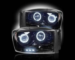 RECON - RECON 264199BK | SMOKED Projector Headlights w/ LED Halos - For Dodge Ram 1500 06-08 & 2500/3500 06-09