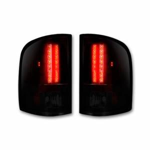 RECON - RECON 264175RBK   LED Tail Lights - DARK RED SMOKED (2007-2013 Silverado & Sierra Dually)