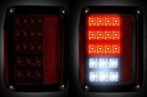 RECON - RECON 264234RBK | LED TAIL LIGHTS - RED SMOKED (2007-2016 JEEP WRANGLER)