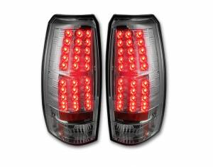 RECON - Recon 264235CL - Clear Lens LED Tail Lights w/ Chrome Back For 2007-2013 Chevy Avalanche