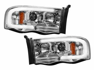 RECON Projector Headlights w/LED Halos & DRLs (Clear/Chrome) | 02-05 Ram 1500 / 03-05 Ram 2500/3500 | Dales Super Store