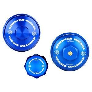 Sinister Diesel - Sinister Diesel Billet Blue Cap Kit | 2003-2007 Ford Powerstroke 6.0L