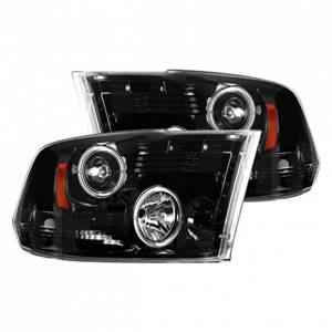RECON - 2009-2013 Ram 1500 / 10-13 Ram 2500/3500 SMOKED Projector Headlights RECON Part # 264270BK