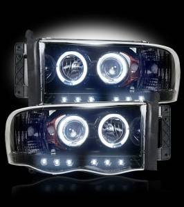 RECON - 2002-2005 Ram 1500 / 03-05 Ram SMOKED Projector Headlights RECON 264191BK