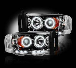 RECON - 2002-2005 Ram 1500 / 03-05 Ram 2500 CLEAR Projector Headlights RECON 264191CL