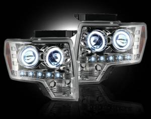 RECON - Recon 264190CL - CLEAR Projector Headlights Ford Raptor & F150 09-13 w LED Halos & DRLs