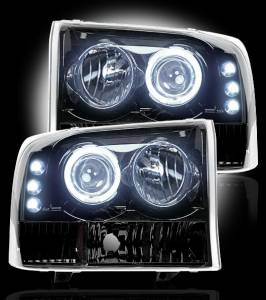 RECON - Recon 264192BK - SMOKED Projector Headlights (Ford Superduty & Excursion 99-04) w LED Halos & DRLs