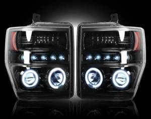 RECON - Recon 264196BK - SMOKED Projector Headlights (Ford Superduty 08-10) w LED Halos & DRLs