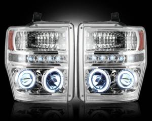 RECON - RECON 264196CL - CLEAR Projector Headlights Ford Superduty 08-10 w LED Halos & DRLs