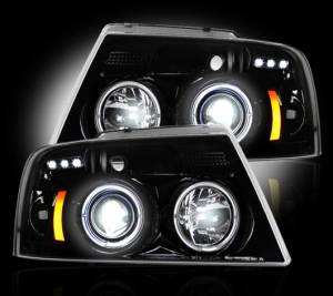 RECON - Recon 264198BK | SMOKED Projector Headlights w/ LED Halos For Ford F150 04-08