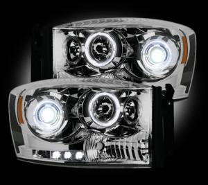 RECON - Recon 264199CL | Clear Projector Headlights w/ LED Halos - For Dodge Ram 1500 06-08 & 2500/3500 06-09