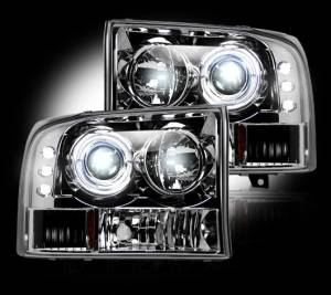 RECON - Recon 264192CL - CLEAR Projector Headlights Ford Superduty & Excursion 99-04 w LED Halos & DRLs