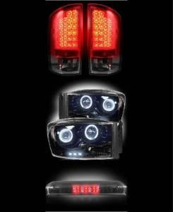 RECON - 2007-2008 Dodge Ram (COMBO) Smoked LED Tail Lights, Projector Headlights + 3rd Brake Light