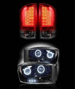 RECON - 2007-2008 1500 Dodge Ram 2007-2009 2500/3500 (COMBO) Smoked LED Tail Lights w/ Projector Headlights