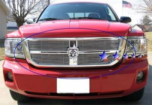Dale's - Dodge 2008-2011 Dakota (Main|4 Section) Upper Polished Aluminum Billet Grilles
