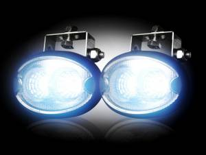 Recon - LED Elliptical Oval Driving Lights (Complete Kit) Black Chrome Internal Housing