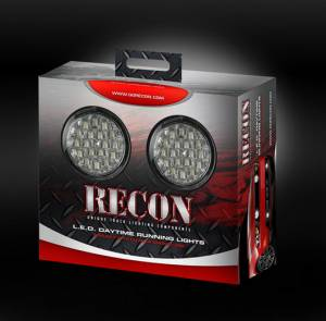 RECON - LED Daytime Running Light Kit - Round Style w/ Clear Lenses