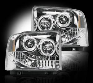 RECON - Recon 264193CL - CLEAR Projector Headlights (Ford Superduty & Excursion 05-07) w LED Halos & DRLs