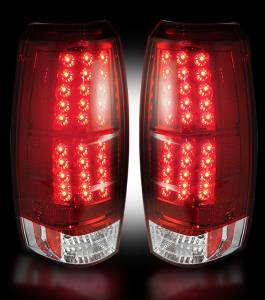 RECON - Recon 264235RD - Red Lens LED Tail Lights w/ Chrome Back For 2007-2013 Chevy Avalanche