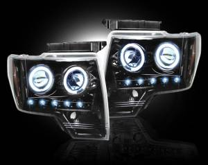 RECON - Recon 264190BK | SMOKED Projector Headlights w/ LED Halos - For Ford F150 / Raptor 09-13