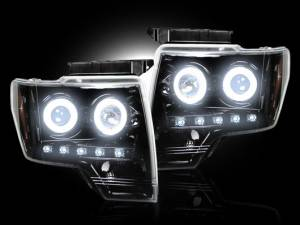 RECON - Recon 264190BKCC | SMOKED Projector Headlights w/ CCFL Halos For Ford F150 / Raptor 09-13