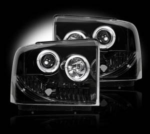 RECON - Recon 264193BK | SMOKED Projector Headlights w/ LED Halos For Ford Superduty & Excursion 2005-2007