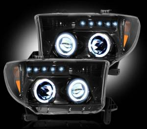 RECON - RECON 264194BK | SMOKED Projector Headlights w/ LED Halos - For Toyota Tundra 07-13  / Sequoia 08-13